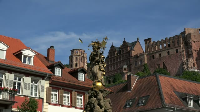 view of kornmarkt to heidelberg castle, heidelberg,  baden-wurttemberg, germany, europe - circa 13th century stock videos and b-roll footage