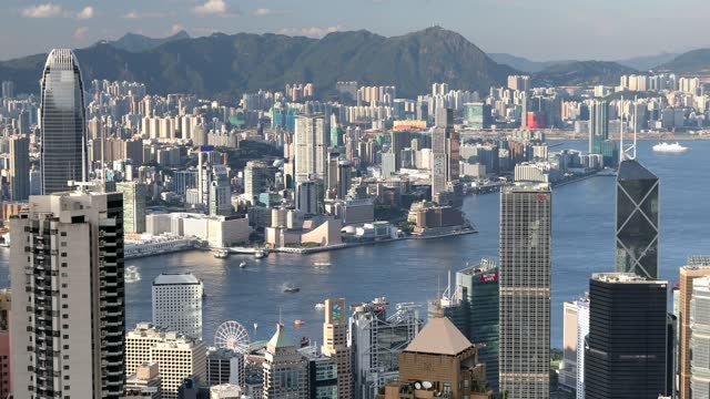 stockvideo's en b-roll-footage met view of kowloon and hong kong island skylines from the peak, hong kong, china, asia - hong kong