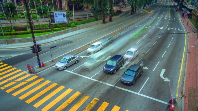 MS T/L View of Kuala Lumpur, Traffic waiting at lights at night / Kuala Lumpur, Malaysia