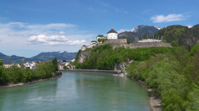 view of kufstein fortress with inn river. kufstein, tyrol, austria, europe. - inn river stock videos and b-roll footage