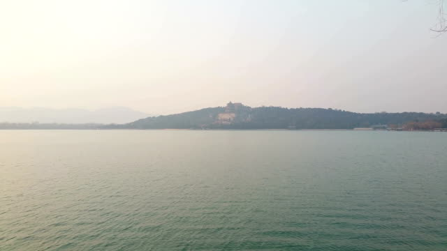 A view of Kunming Lake under smog in the Summer Palace on March 4 2017 in Beijing China