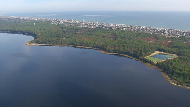 ws aerial view of kure beach / north carolina, united states - north carolina beach stock videos & royalty-free footage