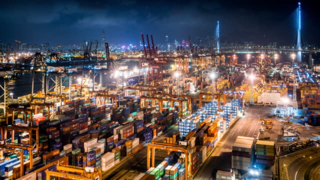 t/l ws ha view of kwai tsing container terminal at night / hong kong, china - lyftkran bildbanksvideor och videomaterial från bakom kulisserna