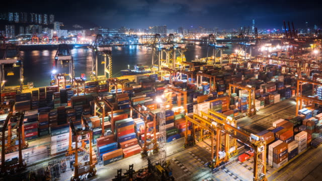 t/l ws ha view of kwai tsing container terminal at night / hong kong, china - handel treiben stock-videos und b-roll-filmmaterial