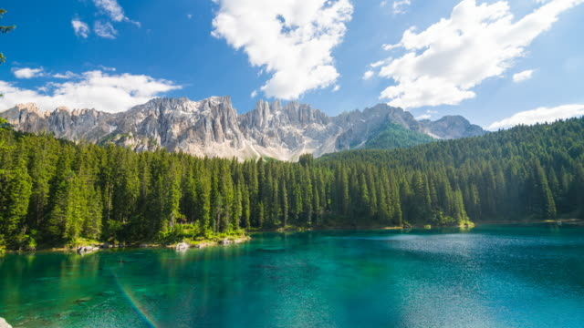 view of lago di carezza – karersee in dolomites, italy - alpi video stock e b–roll