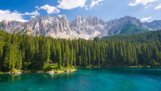 View of Lago di Carezza – Karersee in Dolomites, Italy