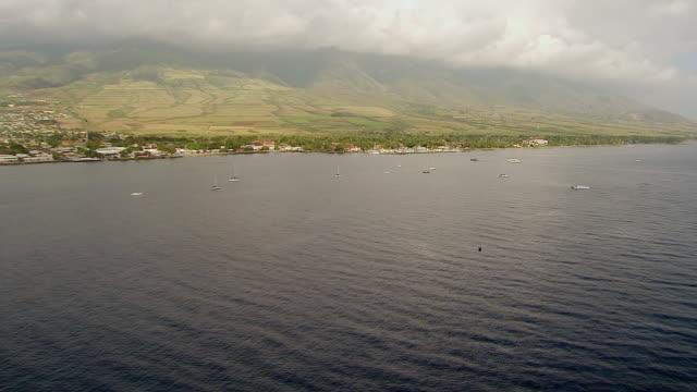 vídeos de stock e filmes b-roll de ws aerial view of lahaina coastline and dock on island of maui / hawaii, united states - ancorado