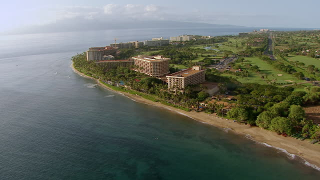 ws aerial view of lahaina coastline with hotels on island of maui / hawaii, united states - tourist stock videos & royalty-free footage