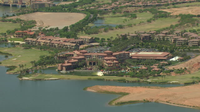 WS AERIAL View of lake and villa in desert at Lake Las Vegas / Henderson, Nevada, United States
