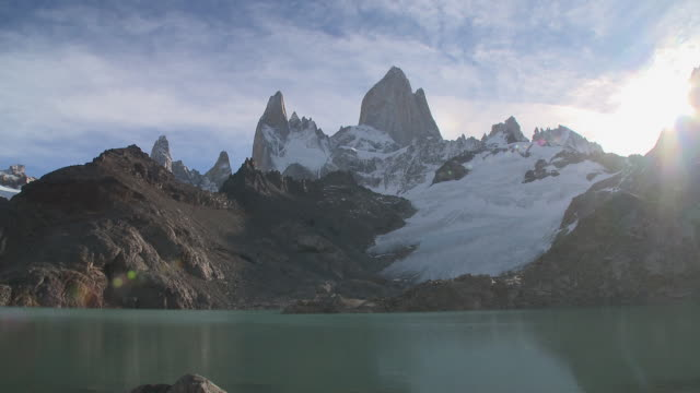 WS View of lake at feet of Fitz Roy Summit in sunshine / El Chalten , Argentina