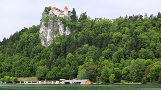 view of lake bled and island, slovenia - lake bled stock videos & royalty-free footage