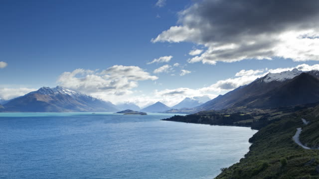 view of lake from above - otago region stock videos & royalty-free footage