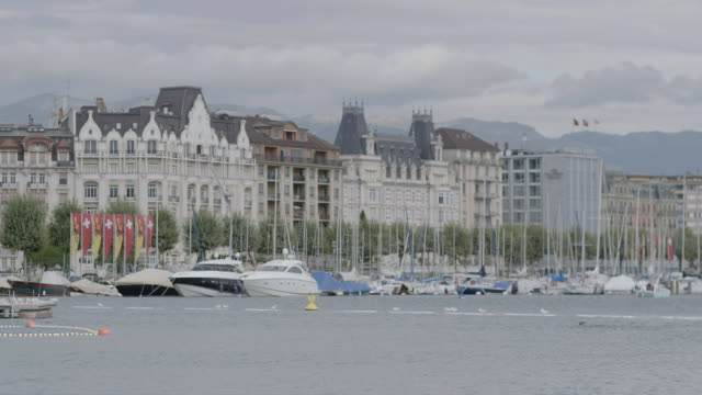 WS View of Lake Geneva, city in background / Geneva, Switzerland