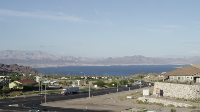 ws view of lake mead with traffic / lake mead national recreation area, nevada, united states - lake mead video stock e b–roll
