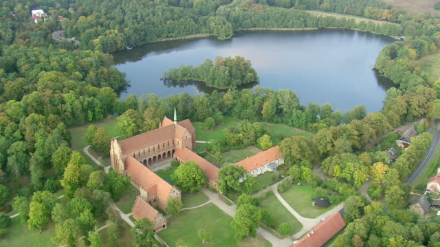 WS AERIAL View of lake nearby Cistercian Monastery at Chorin / Germany