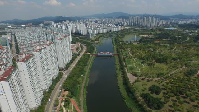 View of Lake Park and Apartment in Ansan, Gyeonggi-do