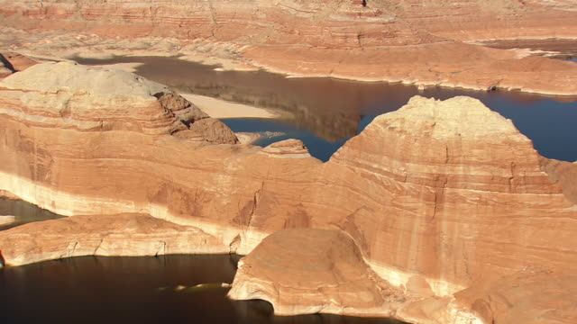 ws aerial view of lake powell and cliff / arizona, united states - lake powell stock videos and b-roll footage