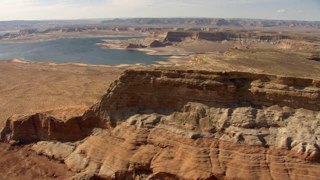 ws aerial view of lake powell / arizona, united states - lake powell stock videos and b-roll footage