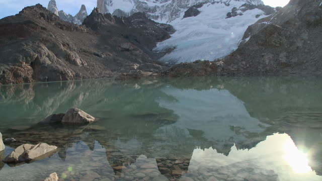 WS TU View of lake reflecting summit fitz roy mountain in background / El Chalten , Argentina