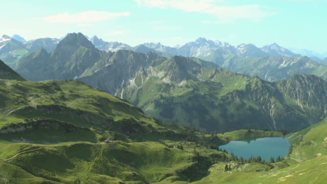 WS View of lake Seealpsee at Mount Nebelhorn near Allgau Alps / Oberstdorf, Bavaria, Germany