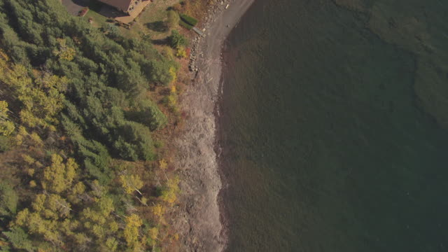 ws aerial view of lake superior shore with fall color trees and houses / minnesota, united states - lago superiore video stock e b–roll
