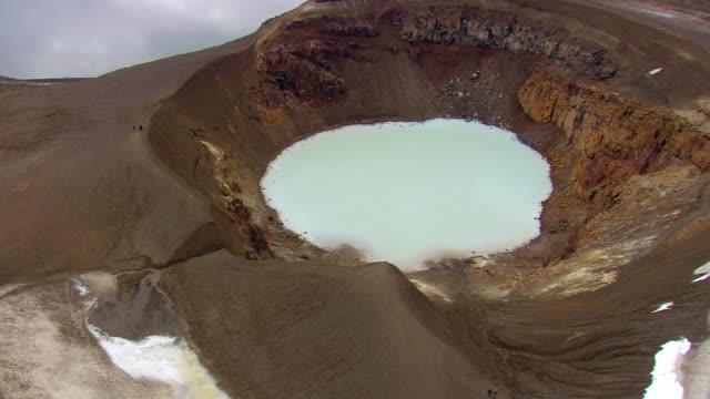 vídeos y material grabado en eventos de stock de ms aerial ds view of lake viti / iceland - parque nacional crater lake