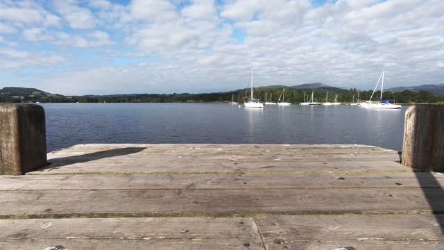 view of lake windermere from a boat jetty - jetty stock videos & royalty-free footage