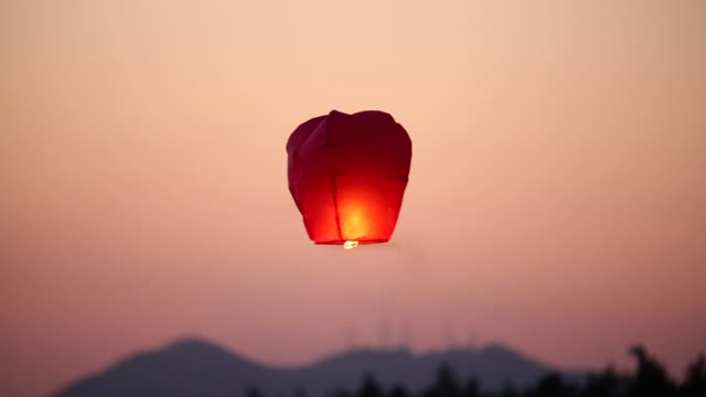 view of lamp in gangmun beach - sky lantern stock videos & royalty-free footage