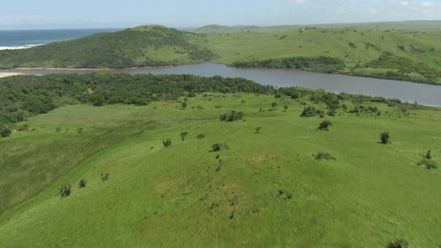 ws aerial view of land next to coastline / durban, kwazulu natal, south africa - republik südafrika stock-videos und b-roll-filmmaterial