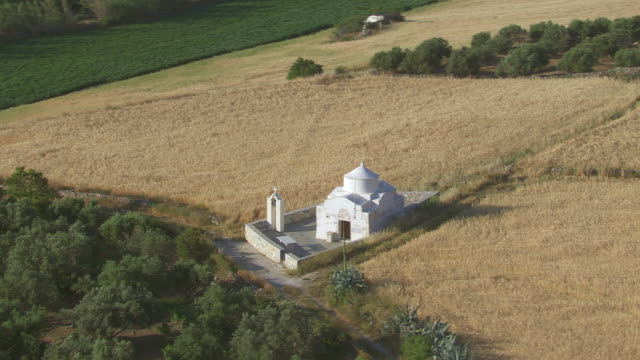 WS AERIAL TS View of landscape and church / Naxos, Cyclades, Greece
