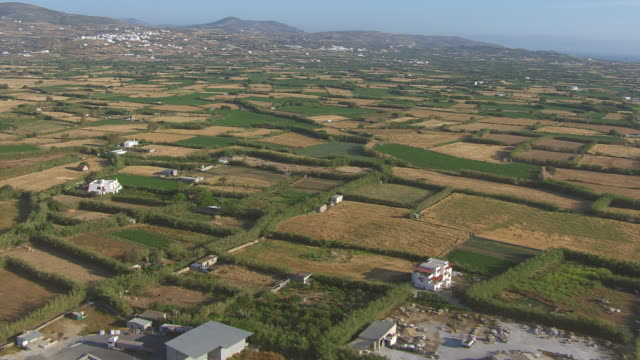 WS AERIAL TS View of landscape and city of naxos / Naxos, Cyclades, Greece