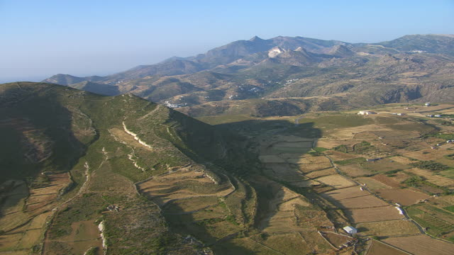 WS AERIAL View of landscape and mountain with village / Naxos, Cyclades, Greece