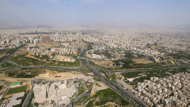 ws view of landscape from milad tower, capital of iran / tehran, iran  - イラン点の映像素材/bロール