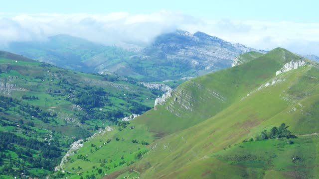 View of landscape in Alto Miera, Miera Valley, Valles Pasiegos, Cantabria, Spain, Europe
