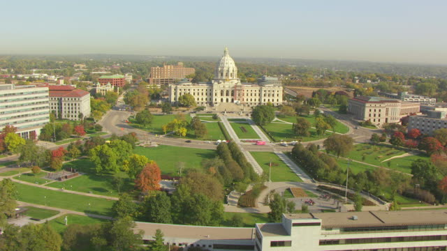 WS AERIAL View of landscape in front of State Capitol building / St Paul, Minnesota, United States