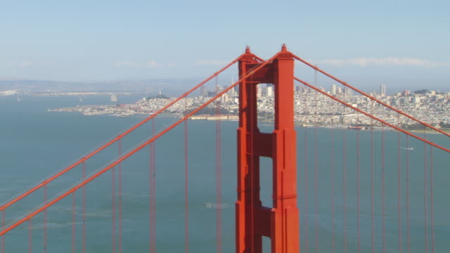 MS ZO AERIAL View of landscape of city to Golden Gate Bridge / San Francisco, California, United States