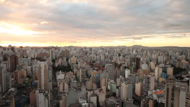 WS View of Landscape of downtown Sao Paulo skyline at sunset time / Sao Paulo, Brazil