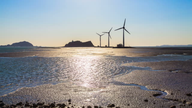 ws t/l view of landscape of mud flat with wind power plant at tandohang port / ansan, gyeonggido, south korea - mud flat stock videos and b-roll footage