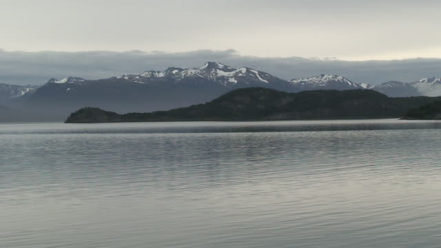 WS View of Landscape with water of Fireland / Ushuaia, Fireland, Argentina