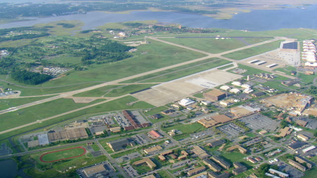 ws aerial zi zo view of langley air force base / virginia, united states - air force stock videos & royalty-free footage