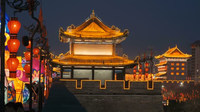 view of lanterns on ancient city wall for celebrate chinese spring festival ,xi'an, shaanxi, china - palace stock videos & royalty-free footage