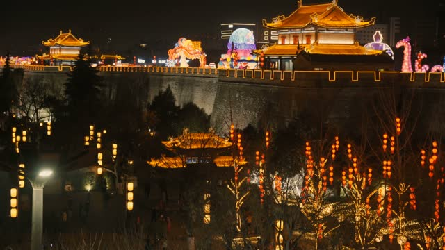 view of lanterns on ancient city wall for celebrate chinese spring festival ,xi'an, shaanxi, china - prosperity stock videos & royalty-free footage