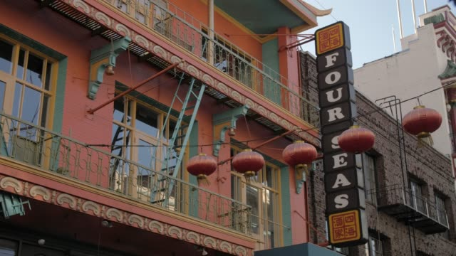 view of lanterns on street in chinatown, san francisco, california, united states of america, north america - western script stock videos & royalty-free footage