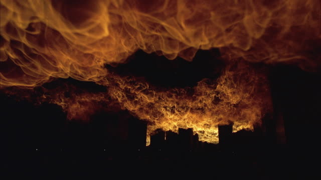 ws view of large flames - fireball stock videos & royalty-free footage