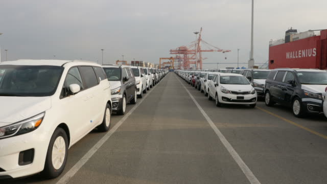view of large group of cars parking in a row near export pier of pyeongtaek port - shipping stock videos & royalty-free footage