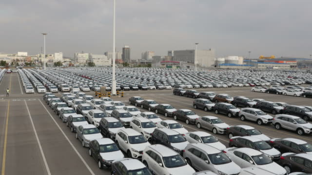 View of Large group of cars parking in a row near export pier of Pyeongtaek port