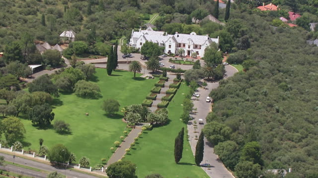 WS AERIAL View of large house in city / Bloemfontein, Free State, South Africa