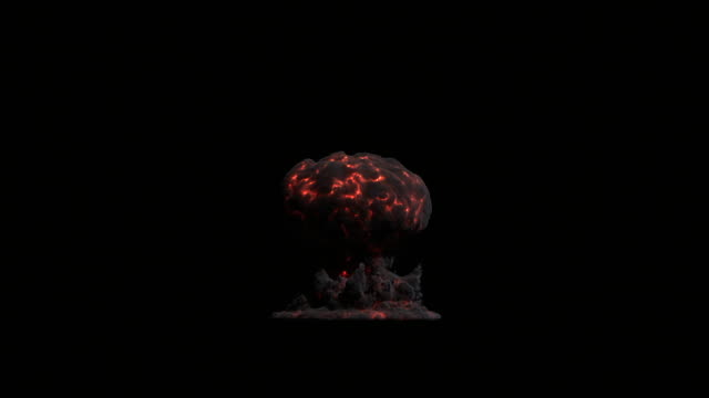 stockvideo's en b-roll-footage met ws view of large nuclear blast with black smoke and red veins of fire showing mushroom cloud slowly rising in air with lens flare on keyable backdrop / montreal, quebec, canada - keyable