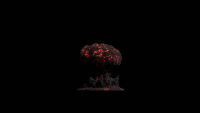 ws view of large nuclear blast with black smoke and red veins of fire showing mushroom cloud slowly rising in air with lens flare on keyable backdrop / montreal, quebec, canada - atomic bomb stock videos & royalty-free footage