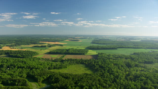 ws aerial pov view of large patchwork farmlands / warrick county, lincoln city, indiana, united states - indiana stock videos & royalty-free footage